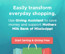 Give online to Mothers' Milk Bank of Mississippi with Giving Assistant